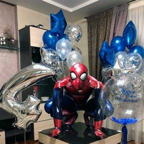 Украшение комнаты шарами на 4 года человек паук