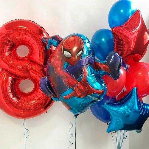 Оформление шарами Человек паук на 8 лет