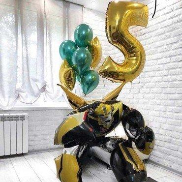 Композиция из шариков на 5 лет с ходячим шаром трансформером