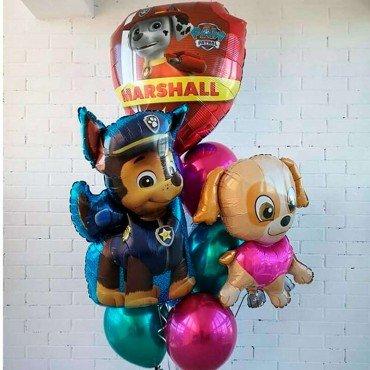 Фонтан из шариков хром и основных персонажей мультика щенячий патруль