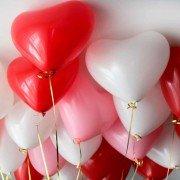 Шарики под потолок сердца белый розовый и красный