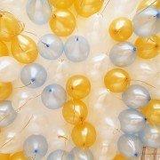 Шары под потолок микс белый голубой золотой