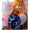 Воздушные шары с рисунками звезд и серпантина и надписью с днем рождения 2