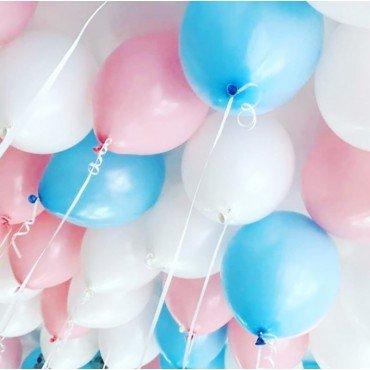 Шарики под потолок белый голубой и розовый