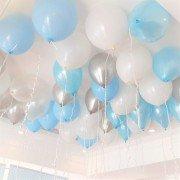 Шары под потолок Микс белый голубой серебряный