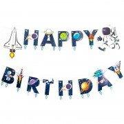 Гирлянда Happy Birthday, Космос, 210 см, 1 шт.