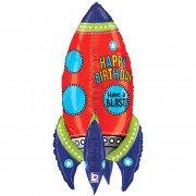 Шар (91 см) Фигура, 3D Ракета, С Днем Рождения!