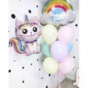 Набор шаров на один годик с розовым котиком единорогом