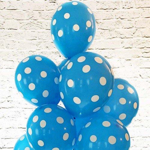 Шары латексные голубые в белый горошек