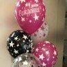 Латексные шарики с надписью с днем рождения белого малинового и черного цвета 2