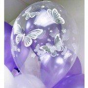 """Воздушные шары с рисунком """"Бабочка"""" на прозрачных шарах"""