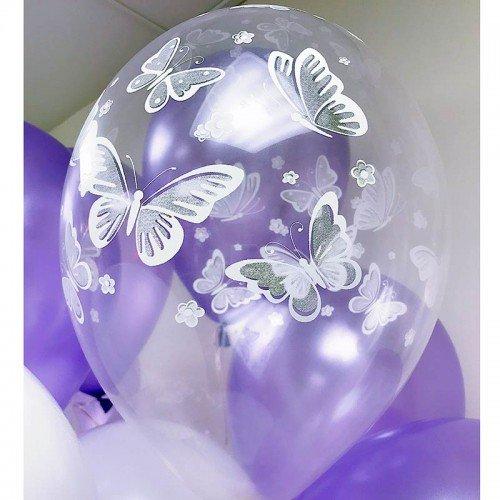 Шарики с рисунком бабочек кристалл