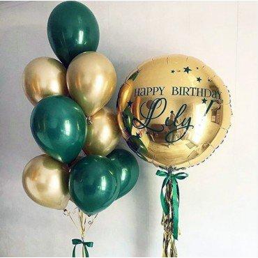 Букет из шаров зелёный и золотой хром