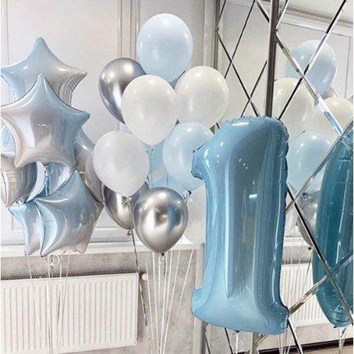 Воздушные шарын а один годик для мальчика градиент