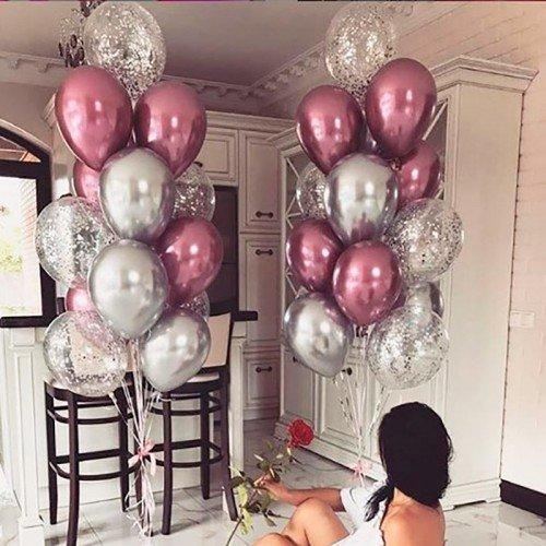 Букет из воздушных шариков хром розовый и серебро