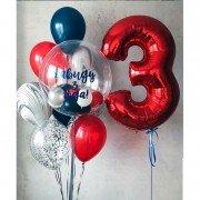 Комплект шаров на 3 года для мальчика с баблс