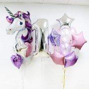 Оформление шарами на первый день рождения для девочки с единорогом
