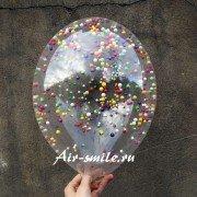 Шар с конфетти с цветными пенопластовыми шариками