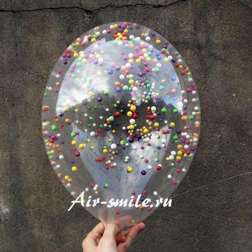 Прозрачный шар с конфетти с цветными пенопластовыми кругляшками