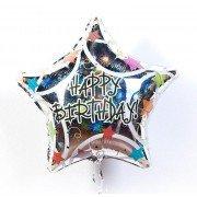 Фольгированная звезда С Днём Рождения переливающаяся