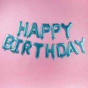 """Набор фольгированных воздушных шаров в виде букв """"Happy birthday"""" бирюзовый"""