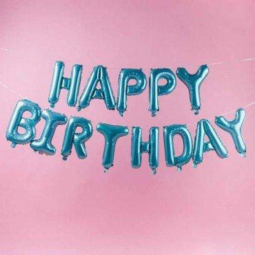Фольгированный шар Happy BirthDay бирюзовый