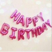 """Набор фольгированных воздушных шаров в виде букв """"Happy birthday,розовый"""""""
