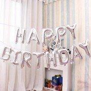 """Набор фольгированных воздушных шаров в виде букв """"Happy birthday"""" серебро"""