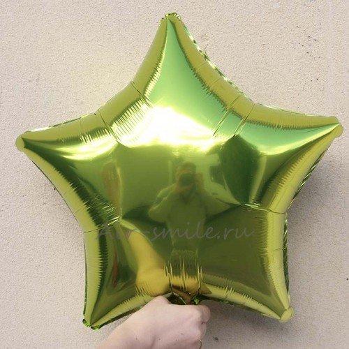 Звезда фольгированная салатового цвета