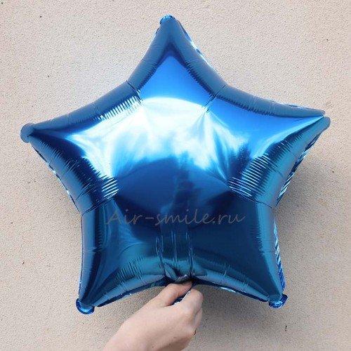 Фольгированная звезда синего цвета