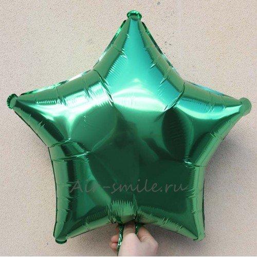 Фольгированная звезда зеленая