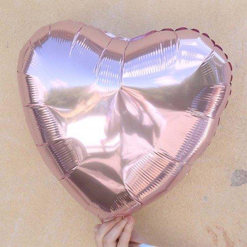 Фольгированное сердце розовый металлик