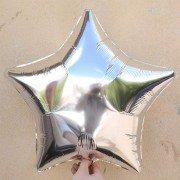 Фольгированная звезда серебряная