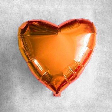 Сердце фольгированное оранжевого цвета