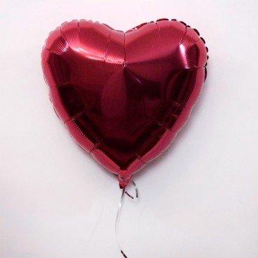 Сердце фольгированное цвета бургундии