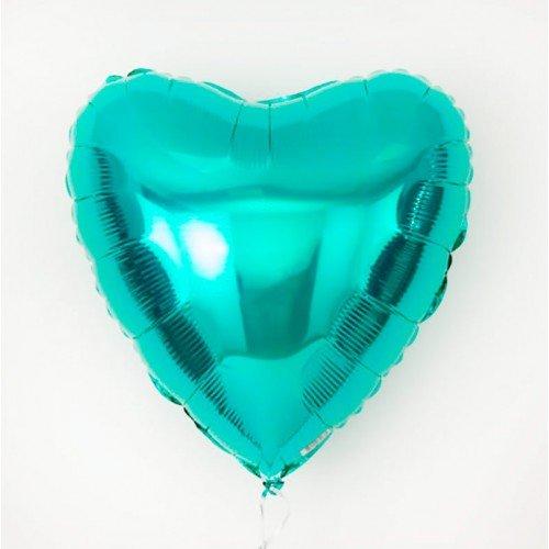 Фольгированное сердце бирюзовое, аквамарин
