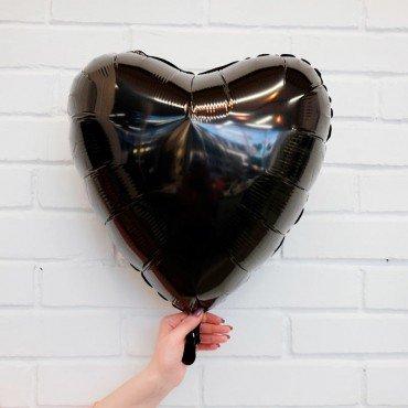 Фольгированное сердце чёрное