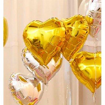 Сердце фольгированное золотого цвета