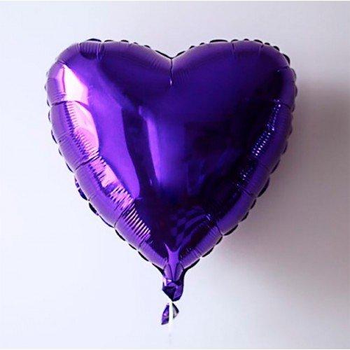 Сердце фольгированное фиолетого цвета