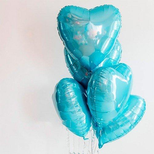 Сердце фольгированное голубого цвета