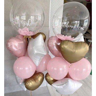 Фонтаны из шаров на выписку девочки с баблсом с индивидуальной надписью