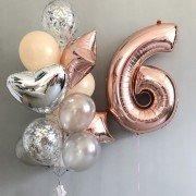 Шарики для девочки на 6 лет с цифрой розовое золото