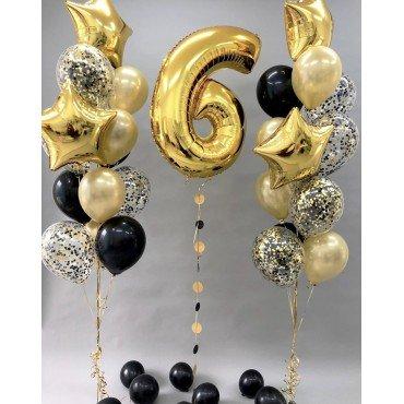 Фонтаны из шаров в золотых цветах с цифрой на 6 лет