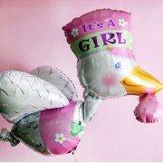 Шар на выписку аист розовый для девочки