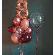 Воздушные шары для девочки на 8 лет с Баблсом с конфетти