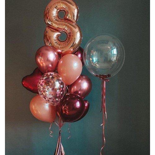 Воздушные шары для девочки с сердцами и баблсом