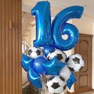 Воздушные шарики для парня на  16 лет с футбольными мячиками