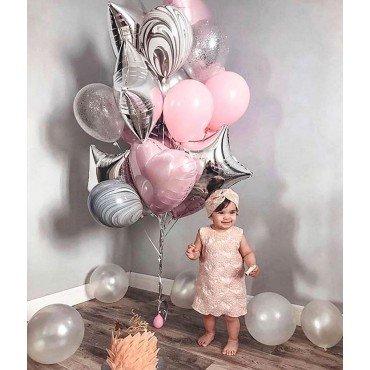 Воздушные шары на один годик для дочери с агатами и звёздами