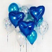 Облако шаров с синими сердцами