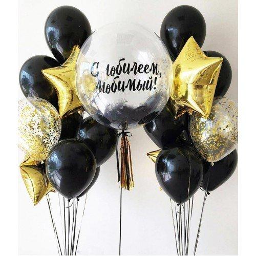 Воздушные шары для мужчины в чёрных цветах с баблсом с надписью